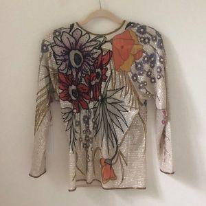 Stunning hand embellished sequin 100% silk shirt